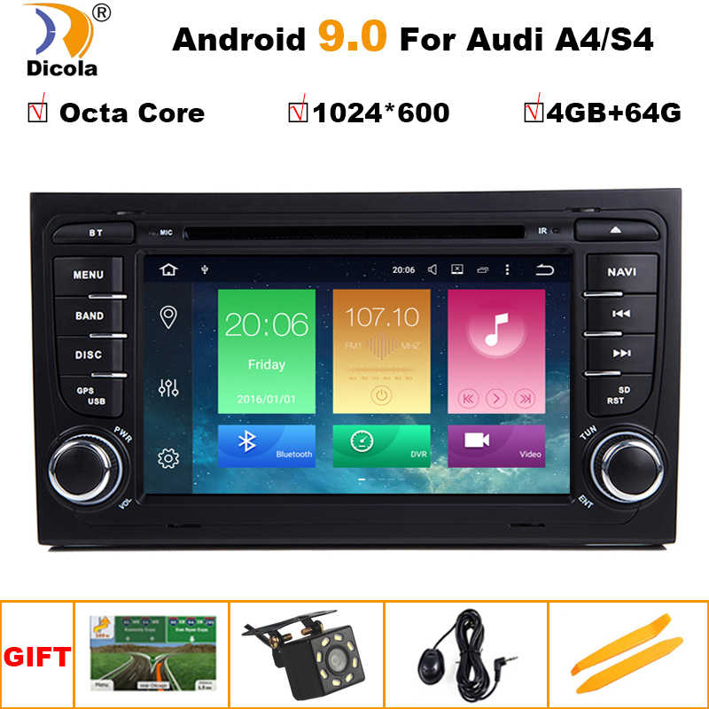 "7 ""IPS HD 9 2 Rádio din Android Octa Núcleo GPS DVD Player Do Carro DAB + A4 S4 RS4 OBD2 para Audi 2002 2003 2004 2005-2008 SEAT Exeo"