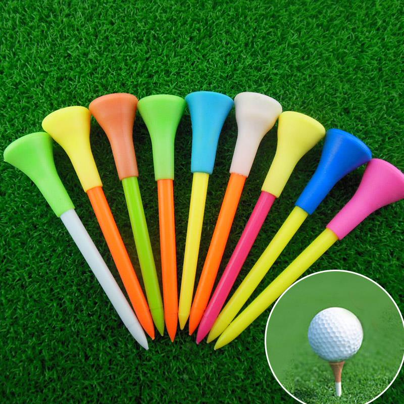 New 50pcs 85mm Plastic Golf Tees Multi Color Durable Rubber Cushion Top Golf Ball Holder Tees Outdoor Tee Golf Accessories