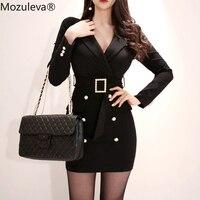 Mozuleva Elegant Turn down Collar Sashes Double Breasted Women Blazer Dress Bodycon Female Short Dress Office Ladies Vestidos