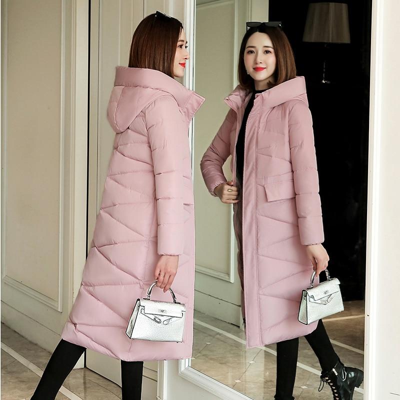Plus Size 3XL Women Parkas Winter Hooded Warm Coat Slim Cotton Padded Basic Jacket Female Casual Long Outwear Feminina 2019 New