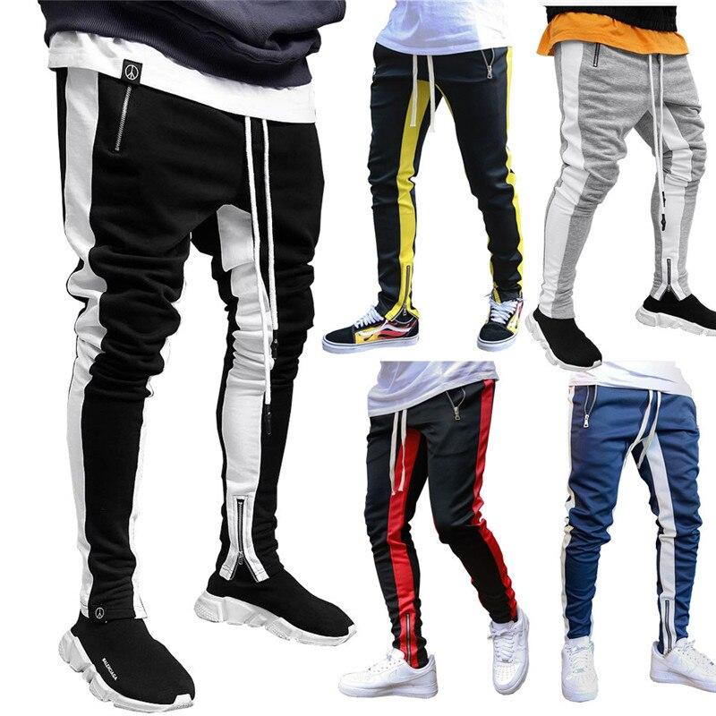 Men Trousers Streetwear Color Line Zipper Pocket Long Pants Black Pants Fashion Joggers Pants Mens Pants  Black Trousers