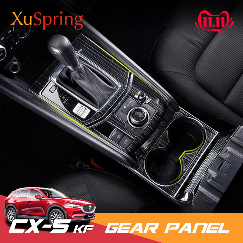 For Mazda CX-5 CX5 2017 2018 2019 2020 KF LHD Car Gear Shift Box Central Control Panel Cover Sticker Trim Strip Garnish Styling