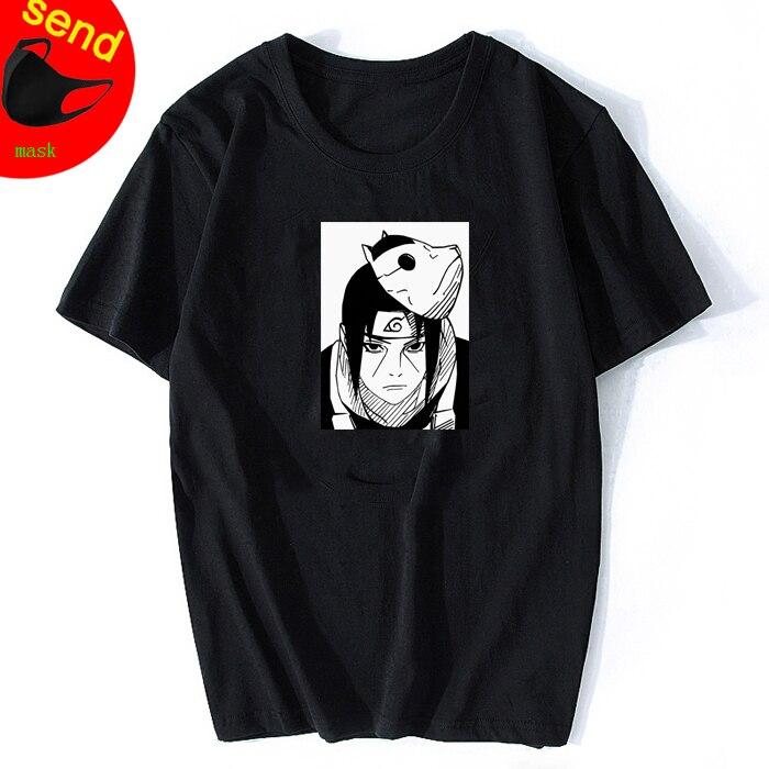 Naruto Harajuku Japanese Anime Uchiha Itachi Printed Wear Mens Hiphop Rap Star Cool T-shirt Short Sleeve Cotton Tee Top Vintage