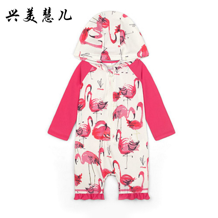 Xing Mei Keiji New Style One-piece Swimsuit For Children Printed Hooded Long Sleeve Tour Bathing Suit Beach Sun-resistant Swimwe
