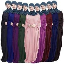 Túnica musulmana de manga de murciélago para mujer, vestido Khimar Abaya islámico Maxi Kaftan Jilbab ramadán, vestido árabe de Color sólido, ropa para rezar Garm