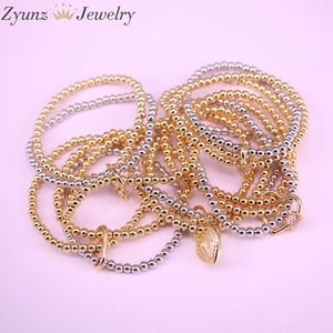 Image 4 - 5PCS, CZ micro pave connector clasp with round copper beads chain bracelets