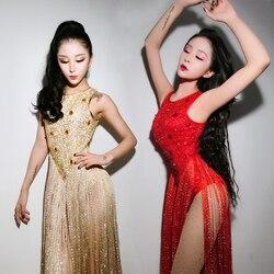Nightclub bar new ds costume DJ female singer Slim sexy jazz dance costume sexy tassel jumpsuit