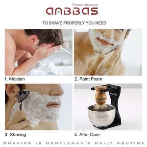 Image 5 - Anbbas בארבר גילוח מברשת גירית שיער, ברור אקריליק Stand, קערת סט