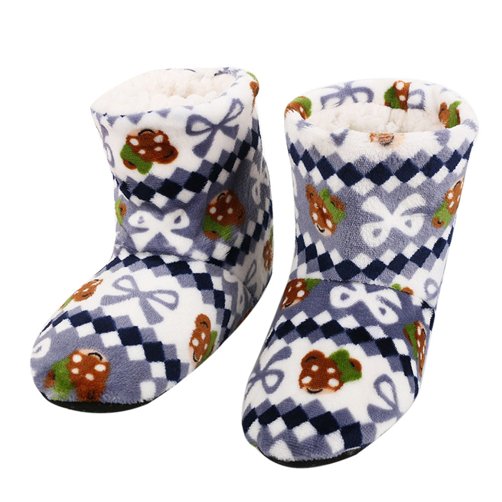 Winter Fur Slippers Women Warm House Slippers Soft Plush Home Floor Shoes Christmas Cotton Indoor Shoes Claquette Fourrure