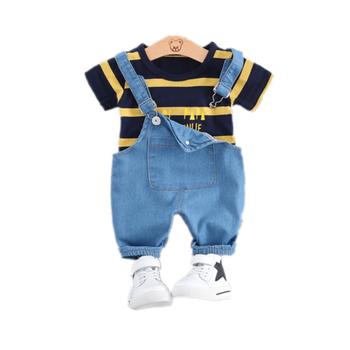 Letnie dziewczynek chłopców odzież maluch dorywczo mody odzież dla niemowląt garnitury T Shirt szorty z szelkami 2 sztuk zestawów dzieci kostium dla dzieci tanie i dobre opinie Byaxbxya COTTON Moda O-neck Swetry Krótki REGULAR Pasuje mniejszy niż zwykle proszę sprawdzić ten sklep jest dobór informacji