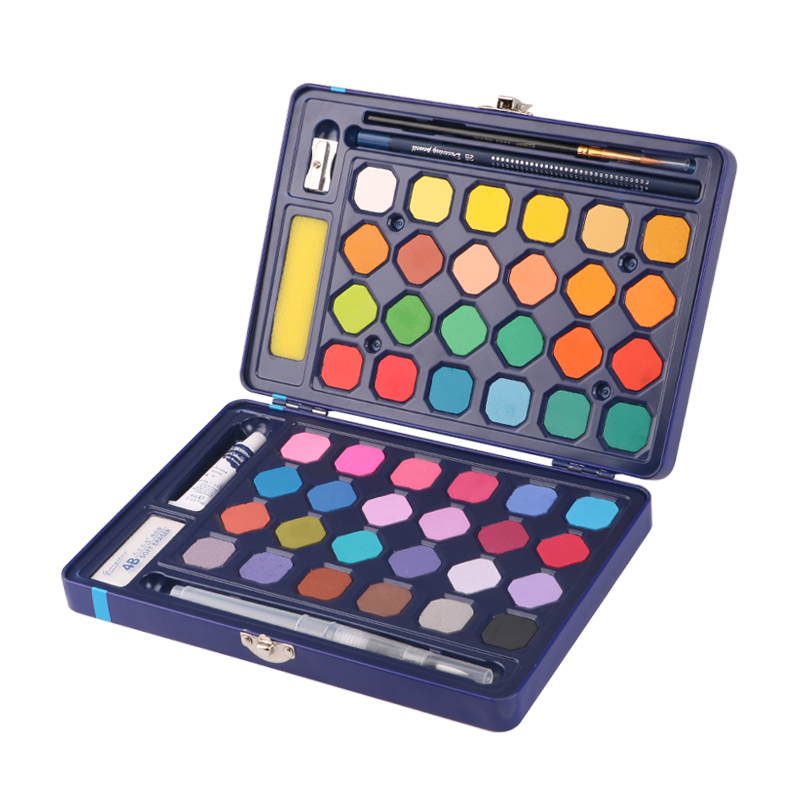 24 color 36 color 48 color solid watercolor gouache paint brush set learning non-toxic painting supplies washable art supplies