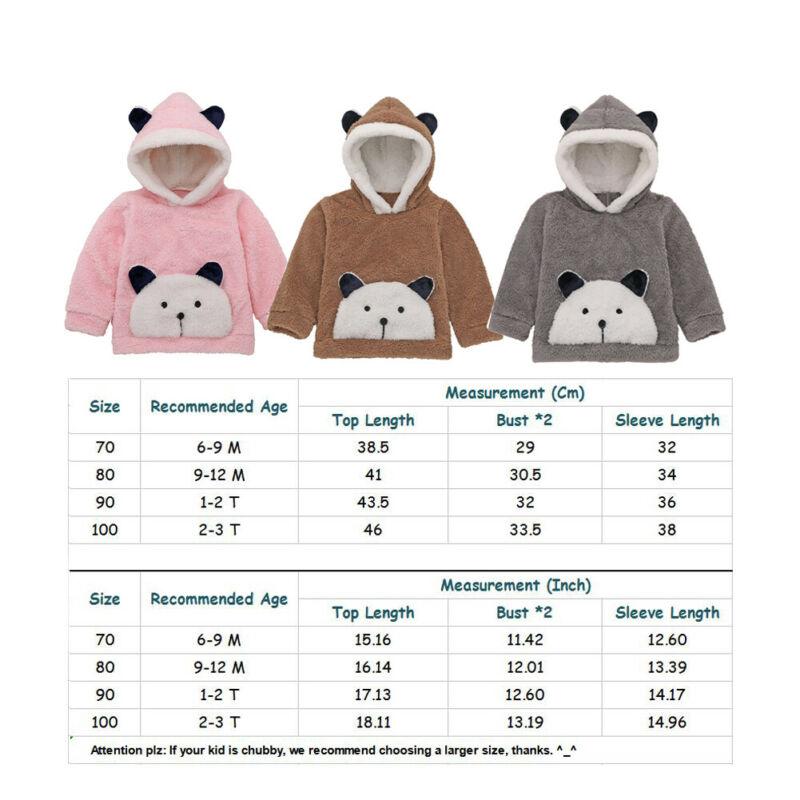 2019 Cute Infant Toddler Baby Boy Girl Hoodies Top Fur Cartoon Print Long Sleeve Pullover Hooded Hoodies Sweatshirt Clothes 6
