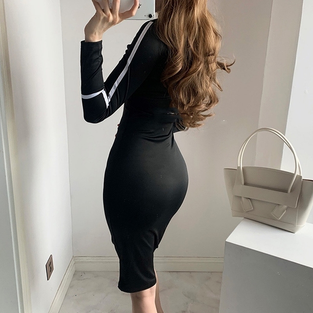 Small high necked long sleeved Kardashian Dress High Waisted 2