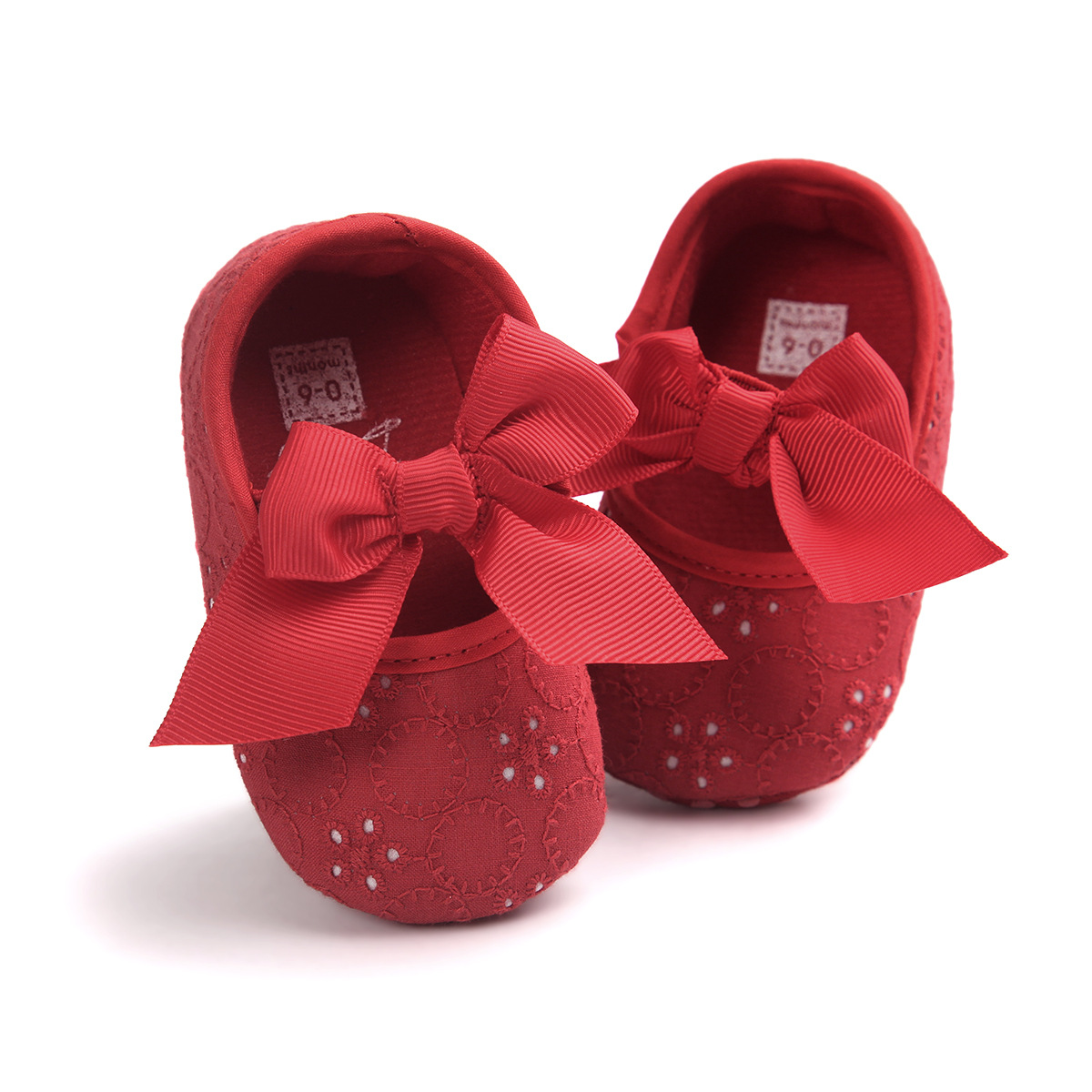 B&G  Girl Embroidered Bow Princess Walking Shoes Anti-slip Baby Floral Toddler Shoes Soft Cotton First Walkers