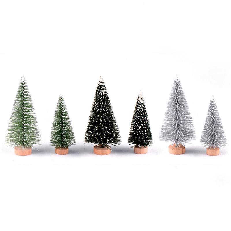 Albero Di Natale artificiale Figurine Sisal Seta di Cedro Albero di Pino Mini Miniatura Micro Paesaggio di Natale Nuovo Anno Fairy Garden Decor