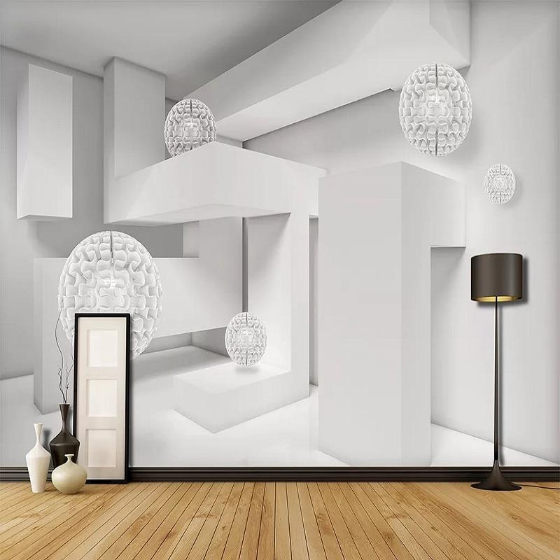 Custom Large Mural 3D Wallpaper Modern Stylish Creative 3D Space White Sphere Living Room TV Back Wall Decor Deep 5D Embossed
