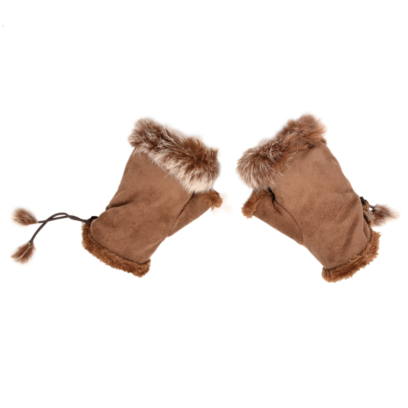 Women Pair Faux Fur Trim Wrist Warmer Fingerless Gloves