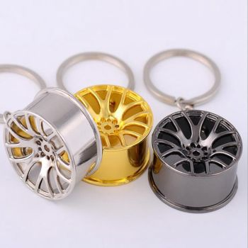 New Design Car Key Chain Cool Luxury metal Key Ring Keychain creative wheel hub chain For Man Women Gift image