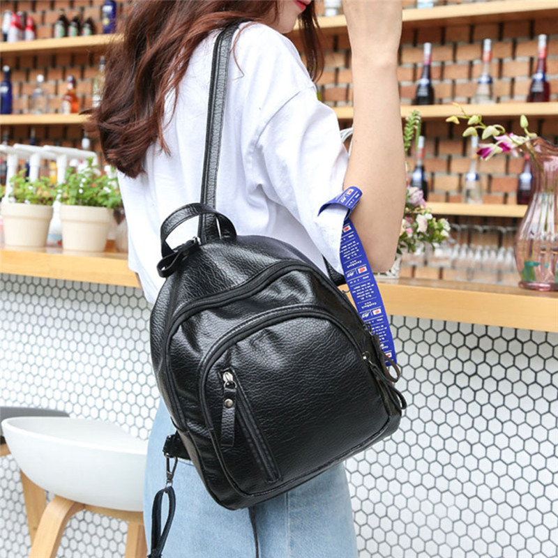 Fashion PU Leather Women Backpack Female Black Backpacks Small Zipper Bags Student  Solid Rucksack For Girls