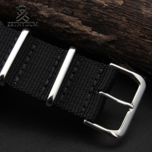 Simple and pure color Outdoor sport Nylon canvas watch belt Waterproof and sweat proof 16 18 20 22 24 Military Watch male strap 4