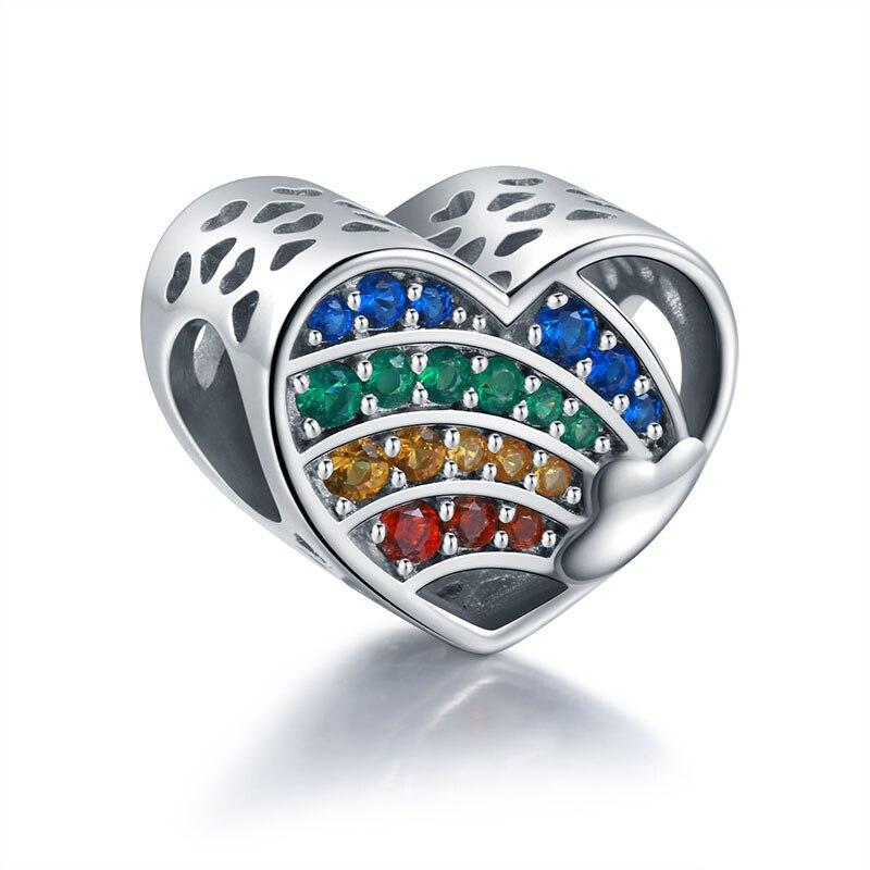 Women 925 Sterling Silver Endless Love Charm Bracelet Pink Zircon Chain Jewelry