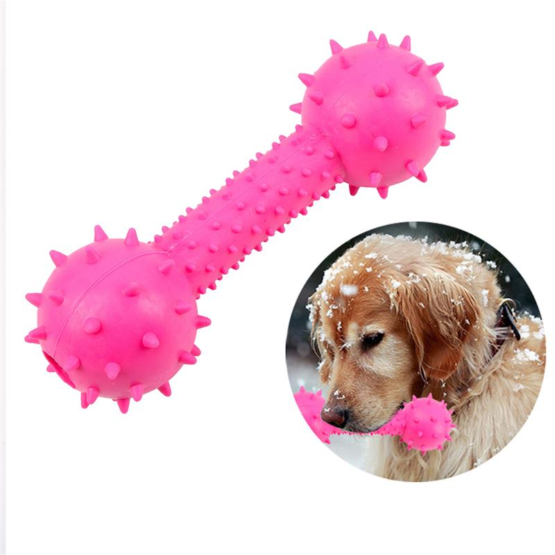 Dorakitten 1pc Pet Chew Toy Rubber Dumbbell Shape Bite-Resistant Dog Sound Toy Dog Teething Toy Pet Supplies