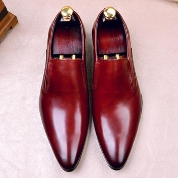 Nowe klasyczne oryginalne skórzane męskie ręcznie robione mokasyny na co dzień szpiczasty nosek na obcasie człowiek ręcznie robione buty galowe FWL168 tanie i dobre opinie NoEnName_Null Prawdziwej skóry Skóra bydlęca Gumowe Wiosna jesień Dla dorosłych Pasuje prawda na wymiar weź swój normalny rozmiar