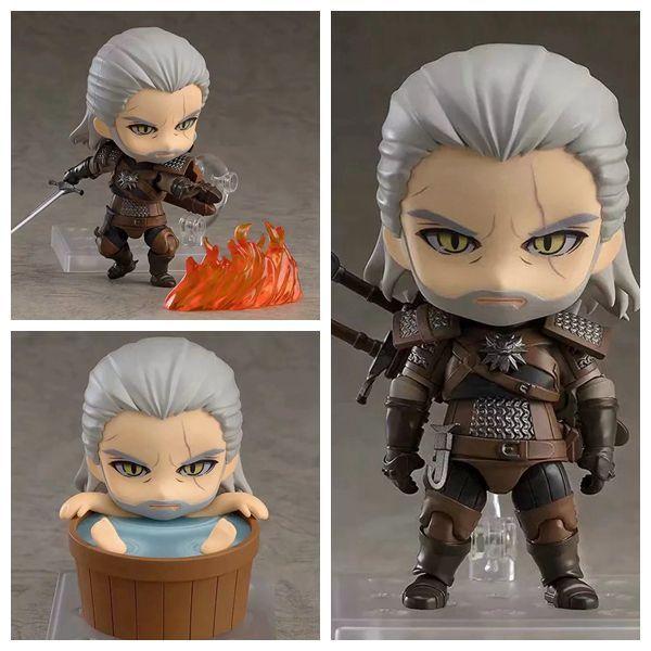 10cm Q Version Nendoroid Witcher 3 Doll Wild Hunt 907 Geralt Of Rivia Action Figures White Wolf Geralt PVC Model Toys