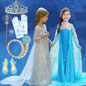 4 6 810 Years Princess Anna Elsa 2 Girls Dress Kids Dresses for Girls Baby Halloween Party Dresses Children Cosplay Costume(China)