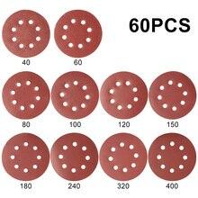 60шт 5 крюк петля зашкурить бумагой с отверстием 8 песок колодки комплект 40Grit-400Grit диск шлифовальный абразив для ногтей машины