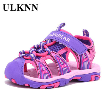 цена ULKNN Boys Sandals Children Sandals For Girls Shoes Boys Beach Sandals Kids Shoes Soft Leather Breathable Toddler Baby онлайн в 2017 году