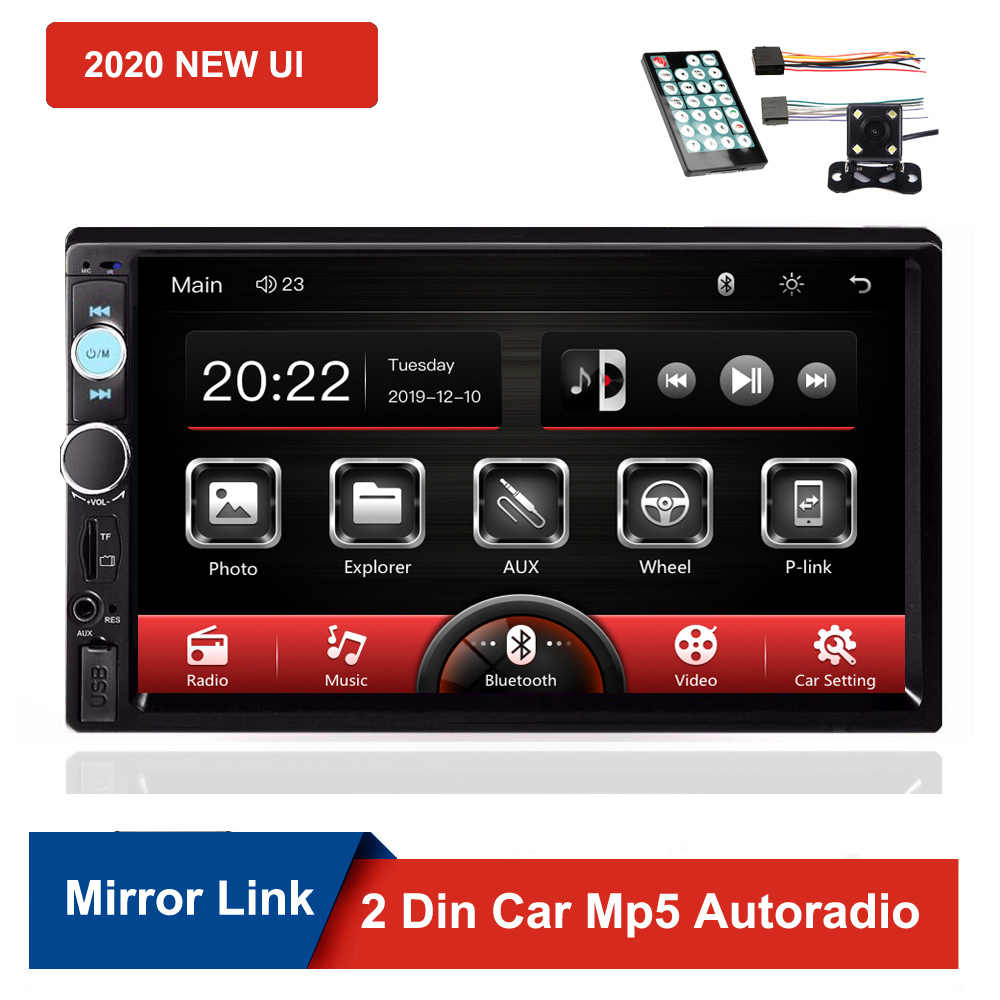 "2020 nuovo Autoradio 7 ""Touch Screen 2 Din Auto Radio Dash MP5 Bluetooth USB FM AM Radio Multimedia Player videocamera vista posteriore"