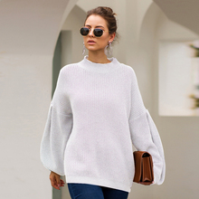 Women Half High Collar Lantern Sleeves Casual Pullover Ladies Simple Cotton Solid Knitted Sweater Autumn Winter 2020 Pull Femme plum perkins collar long lantern sleeves sweater