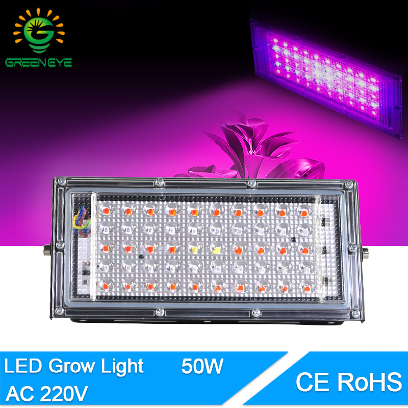 LED Flood Light Plant Growth Flower 50W LED Plant Grow Lamp Plant Spotlight Green House AC 220V Plant Hydroponics  Growth Light