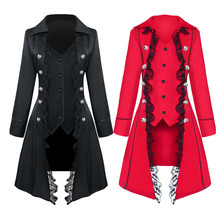 Mens Cosplay Gothic Steampunk Vampire Coats Costume Vintage Trench Jacket Ske15