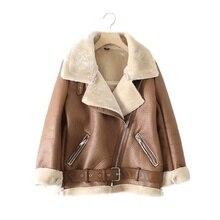 Jacket Sheepskin Coat Spring Faux-Lamb Women New FMFSSOM Thick Fur Lapel