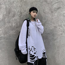 Mulheres vintage punk manga longa t camisa preto branco rasgado buraco topos senhoras harajuku hip hop camisetas de grandes dimensões