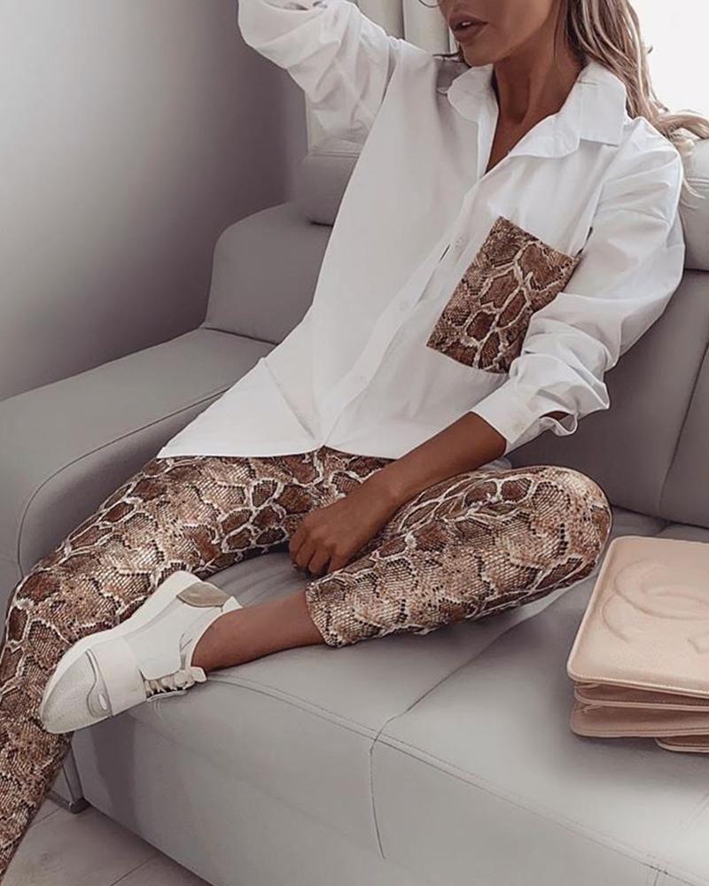>Women Snake Contrast Pocket <font><b>Top</b></font> & Pants Design Pant 2 Piece <font><b>Set</b></font>