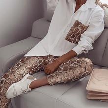 Women Snake Contrast Pocket Top & Pants Design Pant 2 Piece Set