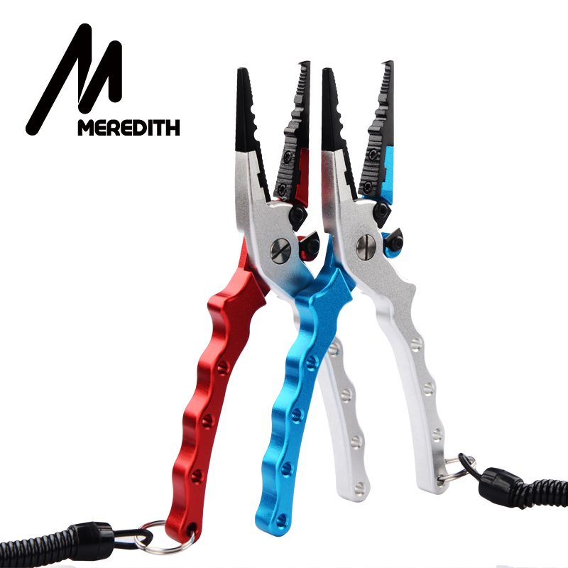 MEREDITH Aluminum Alloy Fishing Pliers Split Ring Cutter Fishing Holder Tackle with Sheath Retractable Tether Combo