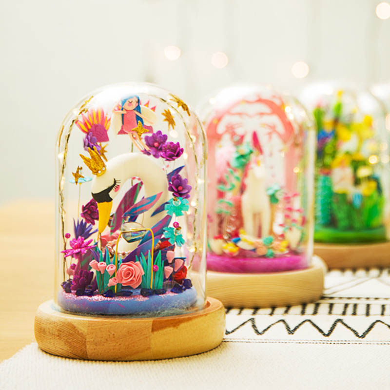 Super Light Clay Material Package DIY Handmade Glass Theater Female Birthday Gift Colorful Plasticine Creative Assembly Ornament