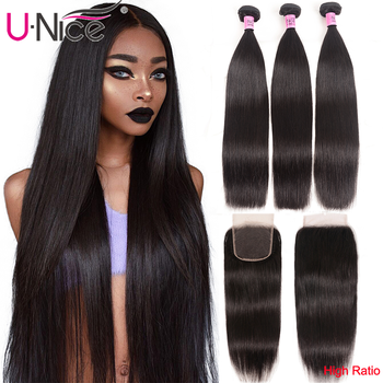 UNice Hair Transparent Lace With Closure 8-30 Malaysian Straight Hair 3 Bundles with Closure Remy Human Hair Extension Bundles - DISCOUNT ITEM  37% OFF All Category