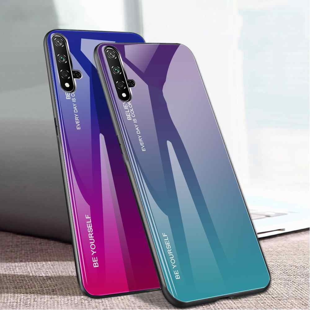 Untuk Huawei Honor 20 Pro 8X 9X 20i P30 P20 Pro Mate 30 20 Lite P Smart PLUS nova 5T Tempered Kaca Back Cover Kerang