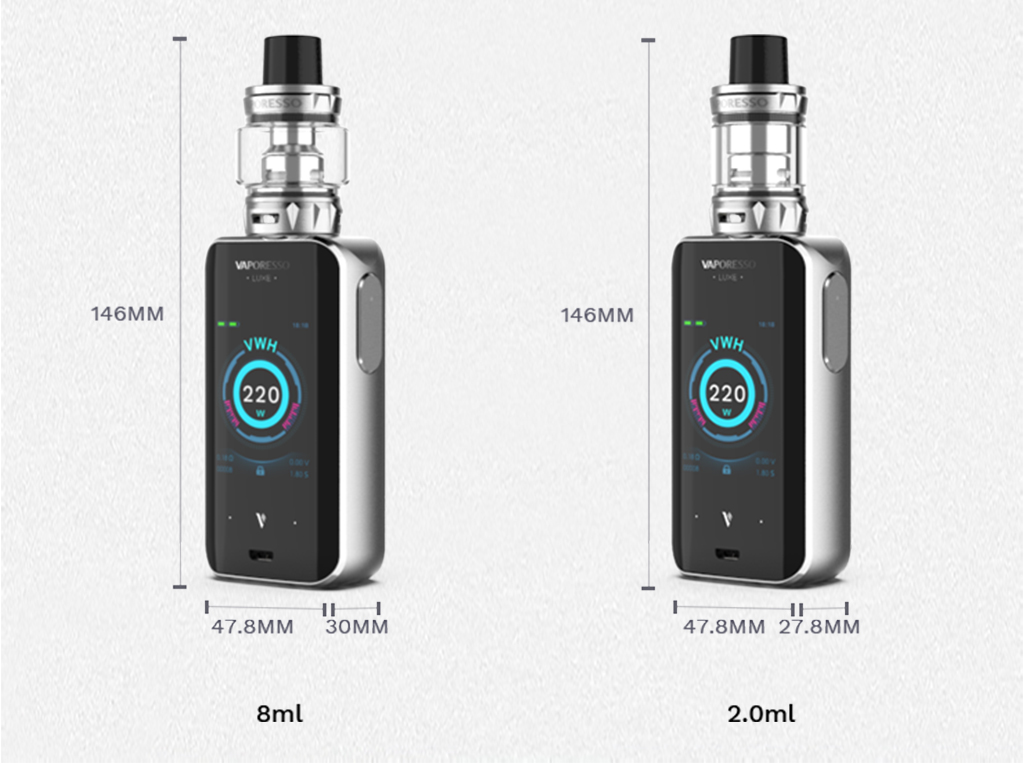 , Vaporesso Luxe Vape Kit with Skrr tank 220W 8ml/2ml Atomizer 2.0inch Screen vs Vaporesso Revenger Electronic Cigarette
