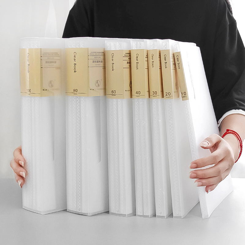 A4 File Bag Data Book 10/20/40/60/80/100 Pages Large Capacity File Folder Portfolio Display Book Office Stationery Drop Shipping