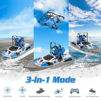 Radio Remote Control Boat 2.4G RC Mini Drone/Boat/Hovercraft Triphibian Vehicle Toys for Kids Birthday Gifts