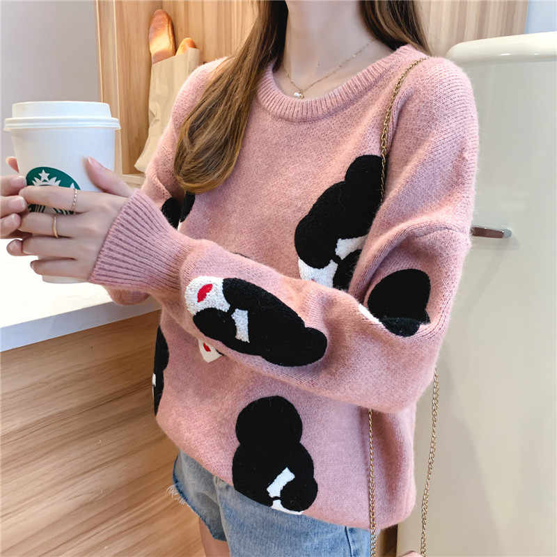 Pull Femme 2020 Winter Herbst Übergroßen Gestrickte Pullover Frauen Laterne Hülse Stickerei Cartoon Verdicken Pullover Jumper