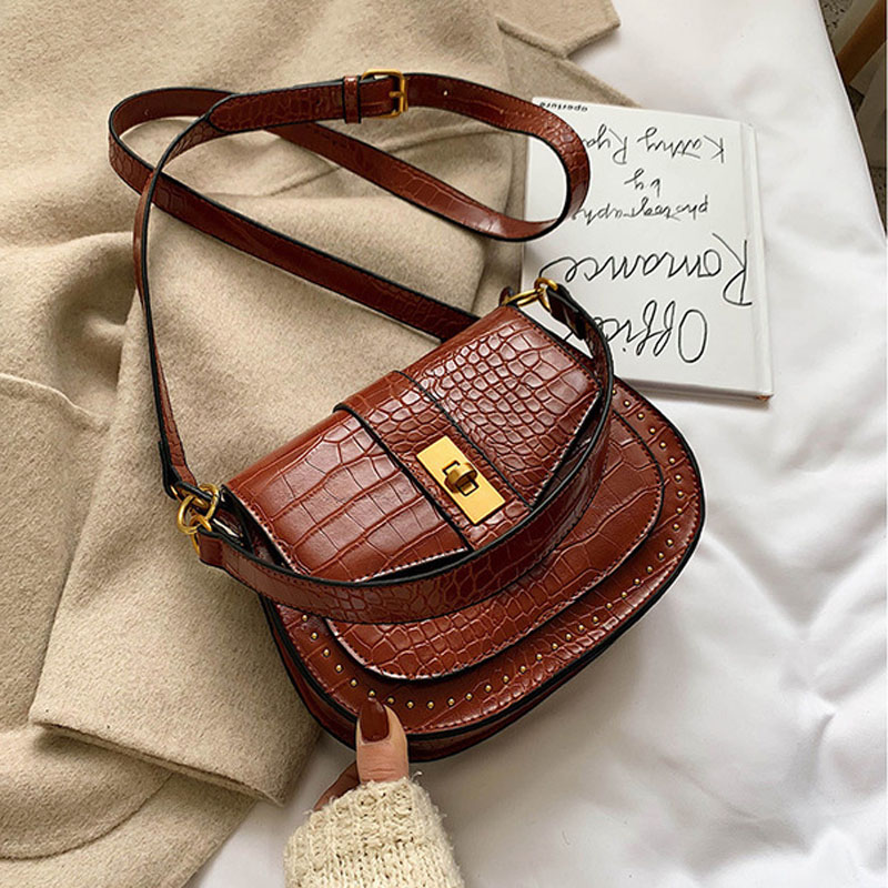 Crocodile Pattern Vintage Leather Metal Lock Crossbody Bags For Women 2020 Small Handbags Ladies Shoulder Messenger Bag bolsa
