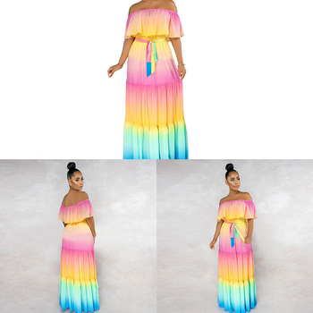 New Rainbow Changing Color Maxi Party Dress with Belt Ruffle Off Shoulder Long Summer Casual Dresses Women