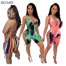 Tie Dye Printing Bandage Playsuits Halter Bodycon Jumpsuits Shorts Ribbons Lace Up Backless